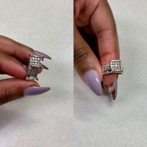GENUINE Diamond & Sterling Silver Cluster Ring
